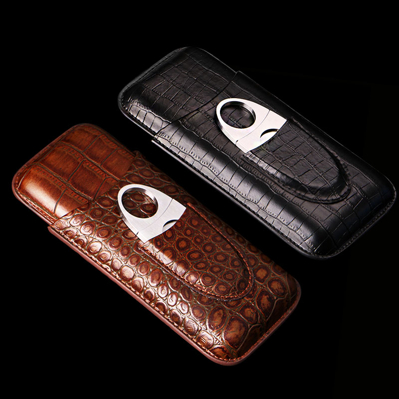 COHIBA Alligator Pattern Leather Black & Brown Hoder 3 Tube Cigar Case with Free Cigar cutter