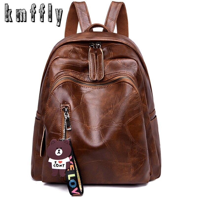 KMFFLY Brand Backpack School-Bags Teenage-Girls Vintage Mochila Shoulder Women for Female