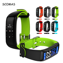SCOMAS P1 Plus Color Display Heart Rate Monitor Blood Pressure Smart Watches Fitness Bracelet Activity Tracker