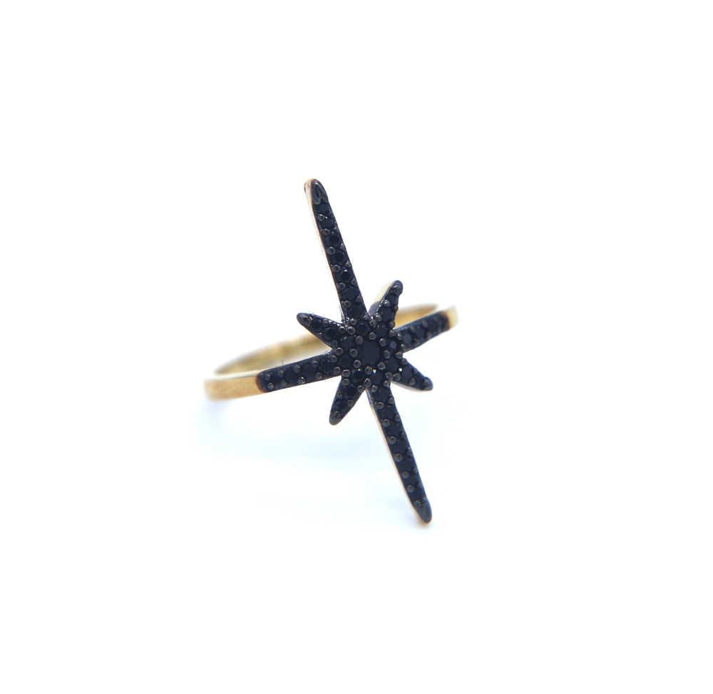 ใหม่แฟชั่น 2018 Finger Midi แหวนทองแหวน AAA + สีดำ Northstar Sunburst แหวน CZ Zircon punk Party เครื่องประดับ