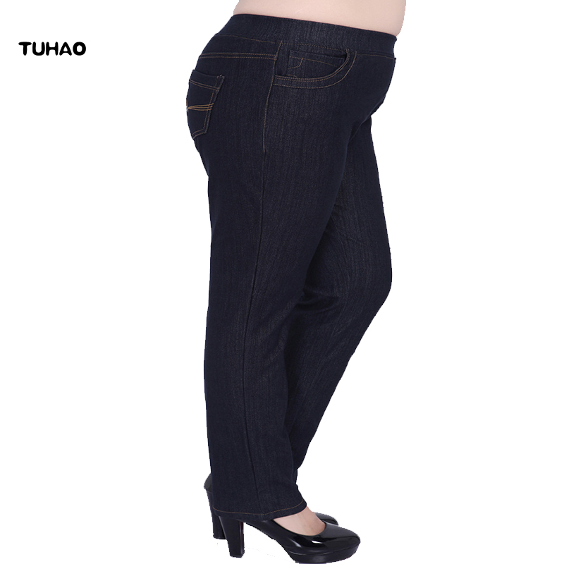 TUHAO Large Size Jean <font><b>Women's</b></font> Trousers Plus Size 9XL 8XL 7XL <font><b>6XL</b></font> <font><b>Women</b></font> Pencil Pants Spring Office Lady Jeans for Woman YHFS image