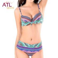 Bowknot Sexy Bikinis Women 2016 Push-Up Swimsuit Bohe Padded Bikini Set Plus Size Swimwear Female Beachwear Bathing Suit Biquini