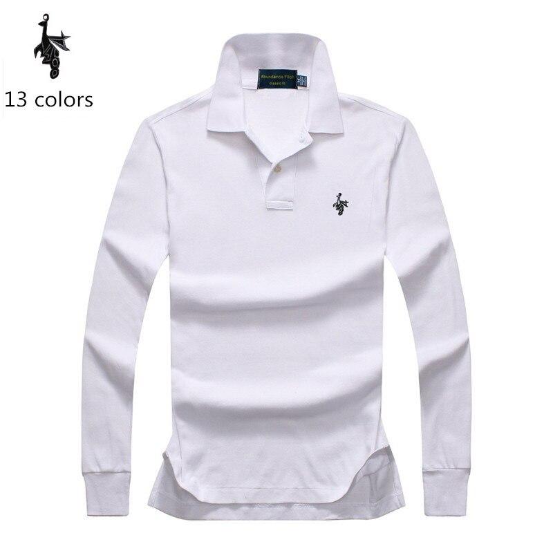 Digital Peacock High Quality Solid Color Embroidery Polo Shirt Casual Polo Shirts Men's Long Sleeve Polo Shirt Arrival Polosshir