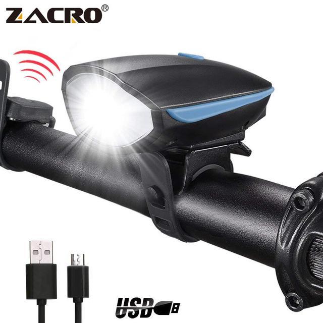 Zacro אופניים פעמון USB טעינת פנס אופני קרן אור פנס רכיבה על אופניים משולבים Ultra בהיר חשמלי 120db צופר פעמון
