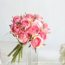 1 Bouquet 11pcs Artificial Rose Decorative Silk Flowers for Wedding Dried Home