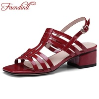 FACNDINLL Fashion Patent Leather Summer Shoes Woman Gladiator Sandals 2018 Square High Heels Open Toe Women