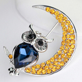 Women Fashion Rhinestone Owl Moon Brooch Jewelry Clothing Accessories Xmas Gift