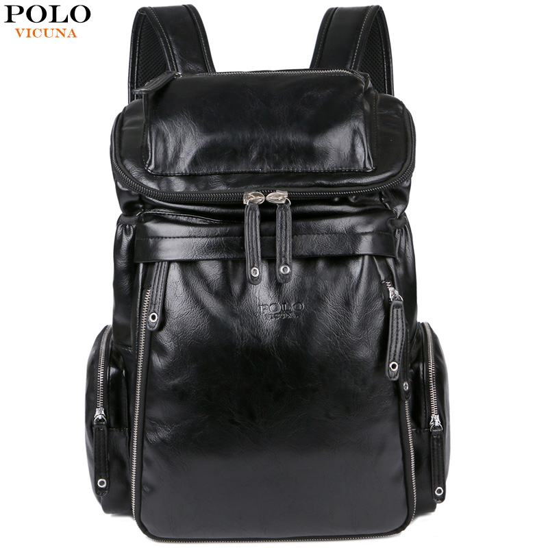VICUNA POLO New Arrival Leather Men School Book Bag Casual Travel Day Backpack Bag Large Capacity Business Laptop Man Backpack large capacity casual man backpack
