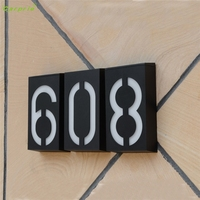 Solar Power LED Light Sign House Hotel Door Address Plaque Number Digits Plate L70220