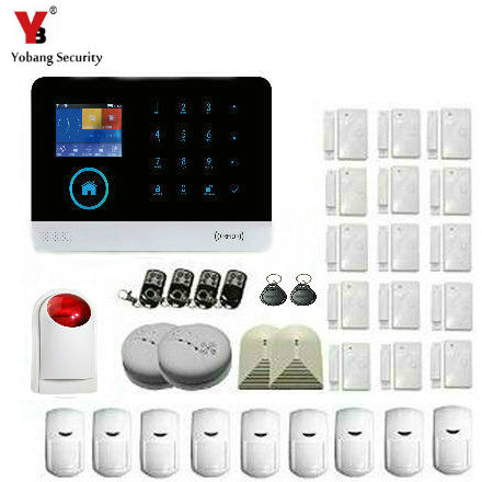 YoBang Security Touch-Screen Wireless Home Burglar Alarm System PIR Motion Detector Smoke Detector Smoke Detector Glass Detector