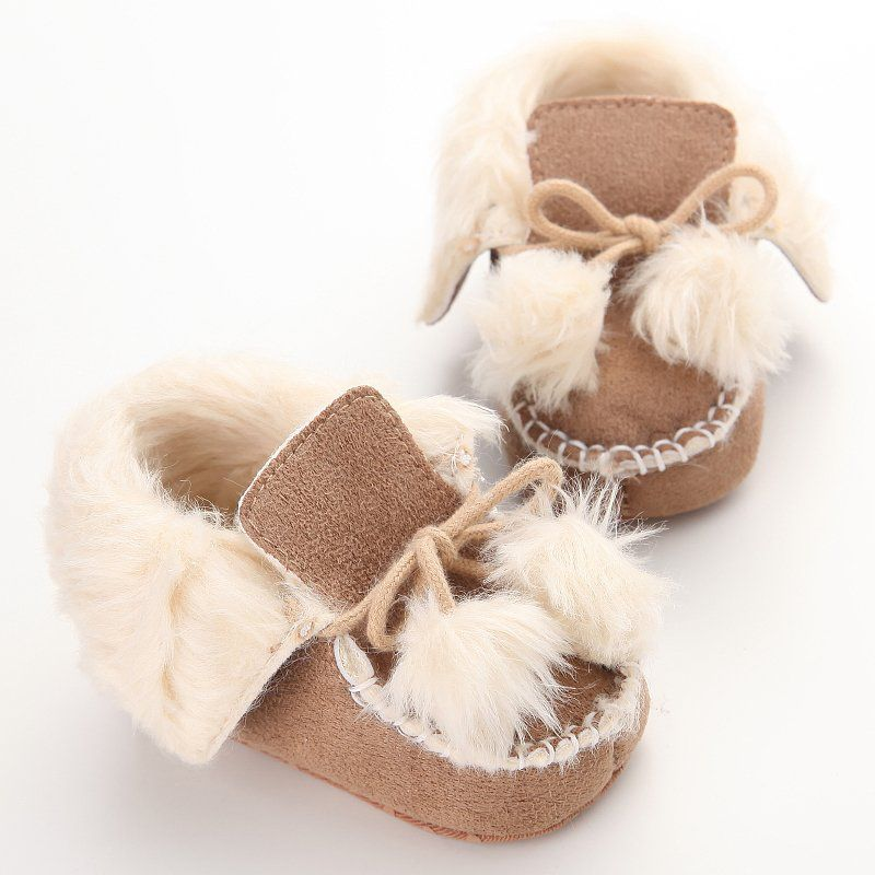 Winter Cute Baby Shoes Infants Warm Shoes Fur Wool Girls Baby Boy Warm Villus Shoes Soft