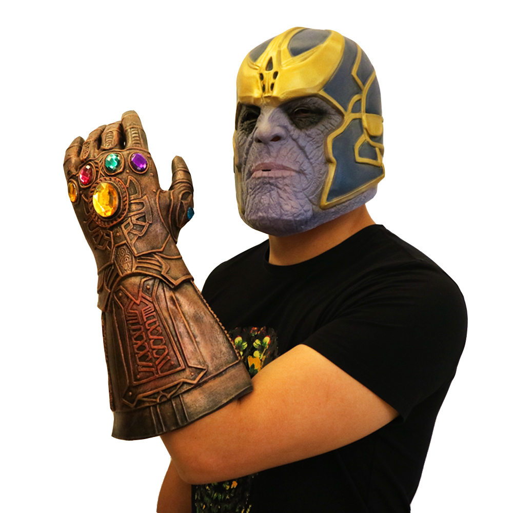 Superhero Weapon Party Prop Avengers 4 Endgame Iron Man Infinity Gauntlet Hulk Cosplay Arm Thanos Latex Gloves Arms Helmet Mask