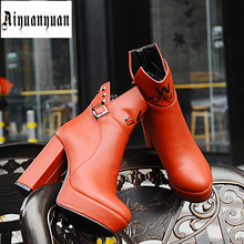 2017 warm boots EUR size 40 41 42 43 44 45 46 47 48 round toe HIGH HEEL women winter shoes PU leather Ankle Boots free shipping