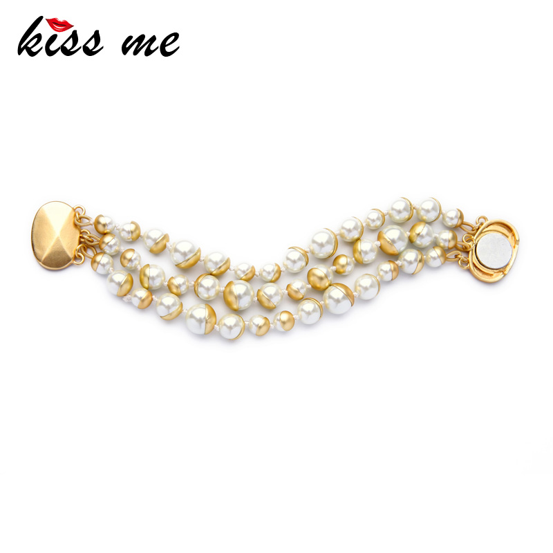 Classical Fashion Imitation Pearls Jewelry Three Layers Beads Chain Magnetic Female Bracelet Factory Wholesale free shipping imitation pearls chain flatback resin material half pearls chain many styles to choose one roll per lot