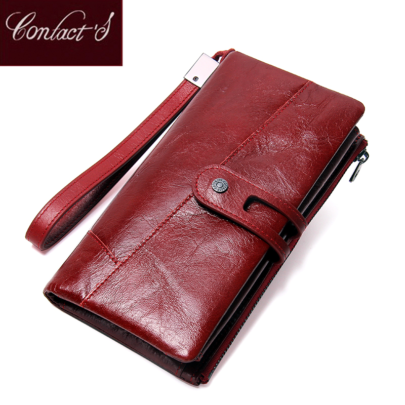 Contact's NEW 2018 Genuine Leather Women Wallets Long Design Clutch Cowhide Wallet High Quality Fashion Female Purse Phone Bags 2018 new women wallets oil wax genuine leather high quality long design day clutch cowhide wallet fashion female card coin purse