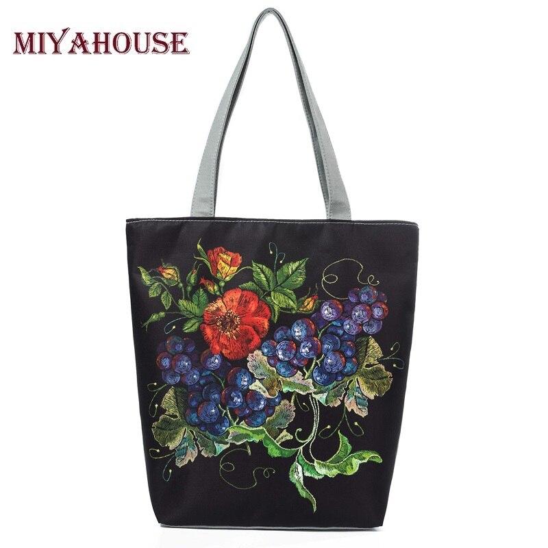 Casual Floral Printed Beach Bags Female Shopping Bag Women Canvas Tote Handbags Fruit Design Single Shoulder Bags