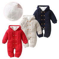 Hooded Baby Romper Knitted Winter Clothes Baby Boys Girls Tiny Cotton Toddler Romper Newborn Clothes 6 18 Months