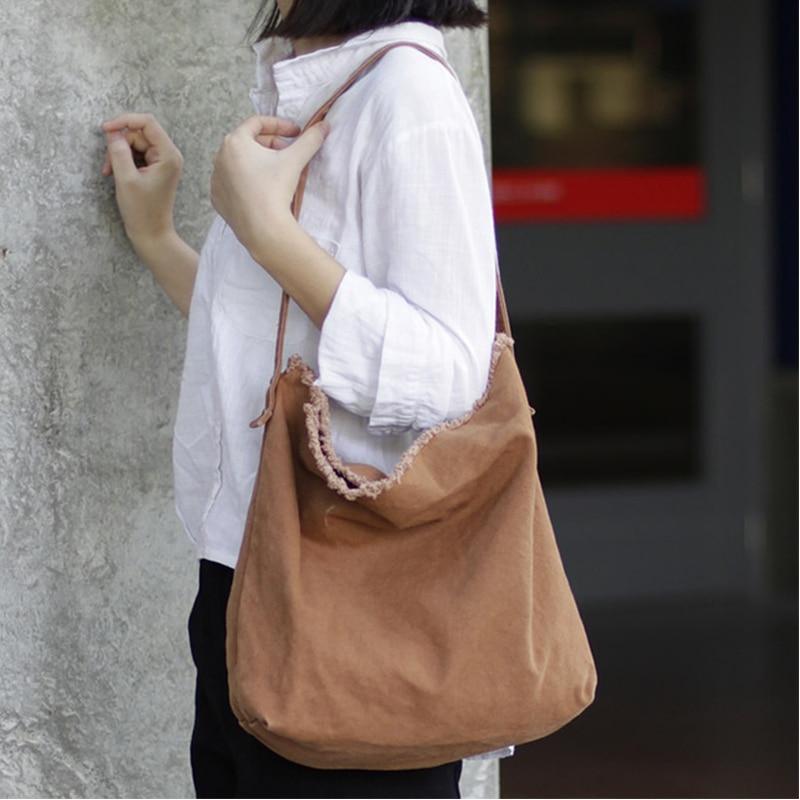 Tela Mea69 Semplice Bag Mori Capacità Delle Spalla Del Tote bianco Borsa Shopping Il Coreano Sacchetto Grande Burlone Nero Messenger Di Donne brown TtfTw
