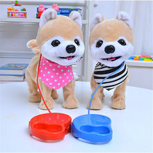 Robot Dog Singing Dancing Walking Musical Husky Electronic Pet Dog Toys for Children Leash Dog Called Electric Dance Music Plush(China)