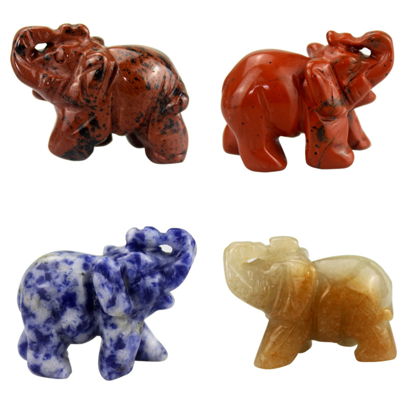 2-tommers Crystal Elephant Statue Craft Carved Natural Stone Elephant Figur Jade Mini Animals Figurines for Decor Chakra Healing
