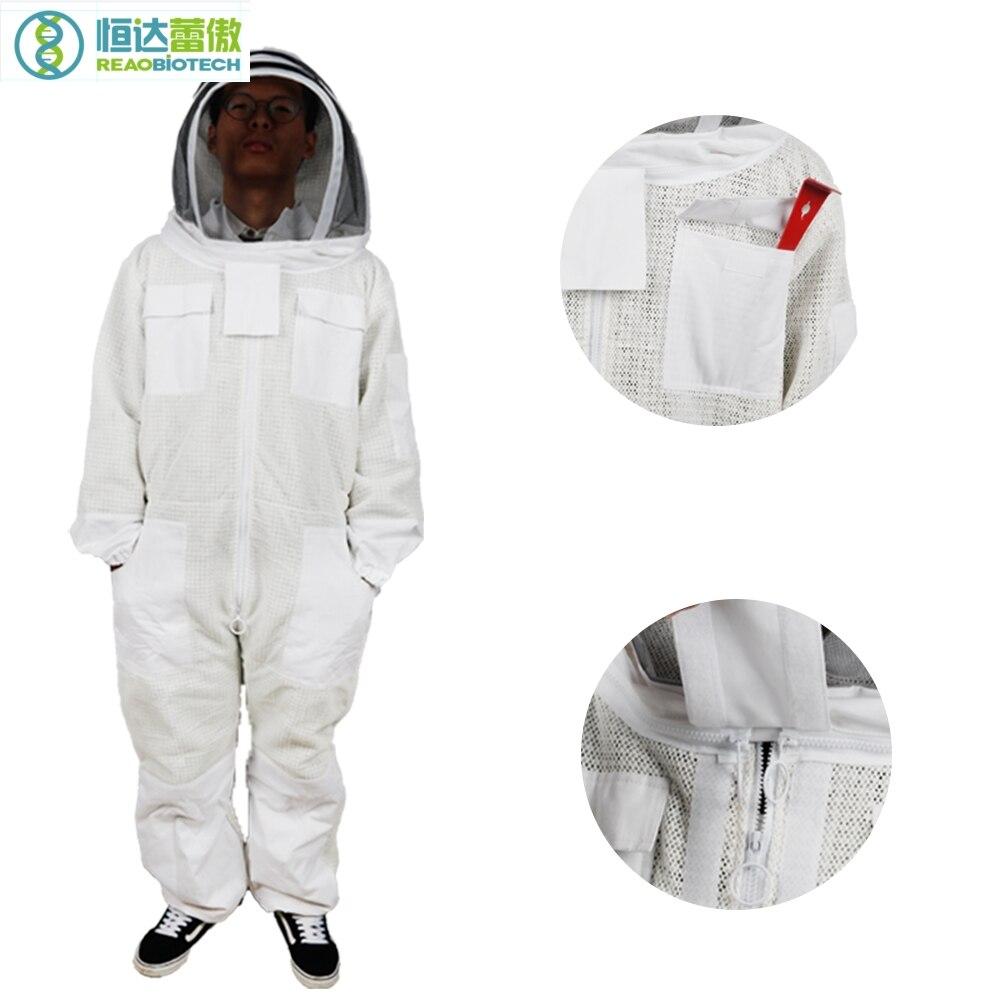 Płaszcz ochronny garnitur pszczelarstwa Apiculture biały garnitur z czarny Grenadine kapeluszem pszczoła kostium dla pszczelarza HDBS 008 w Odzież ochronna od Dom i ogród na  Grupa 1