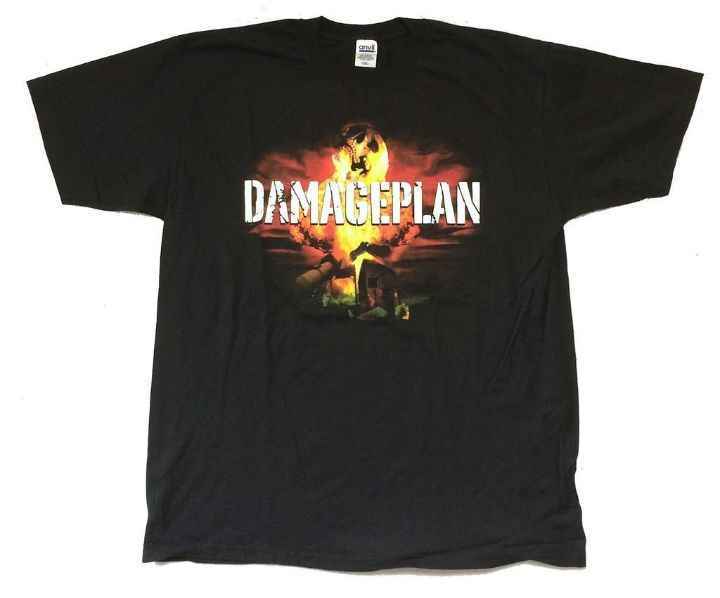 Damageplan Fireball Blowin Sh*t It Up Tour Black T Shirt New Official Dimebag