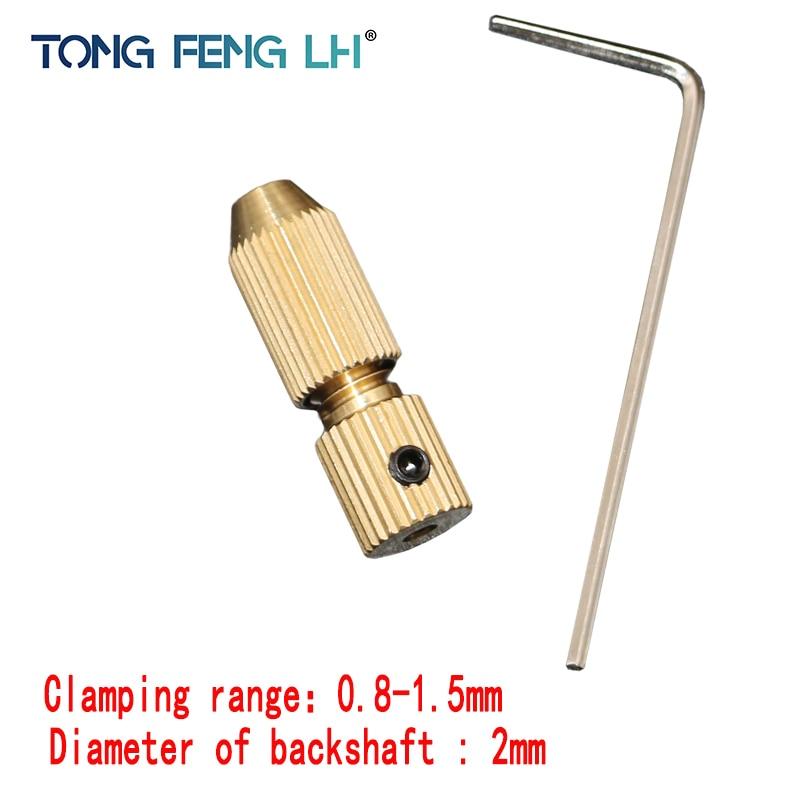 2.0mm Brass Electric Motor Shaft Clamp Fixture Chuck Mini Small For 0.8mm-1.5mm Drill Micro Drill Bit Clamp Fixture Chuck