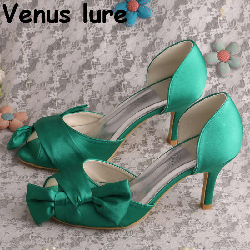 Peep Toe High Heels Green Shoes 2018