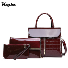 цены KXYBZ 3Pcs Luxury Patent Leather Handbag Women Bags Designer Brand Famous Tote Bags Shoulder Crossbody Bag Clutch Purse Bag Sets