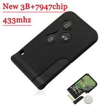 무료 배송 새로운 유형 3 버튼 434Mhz pcf7947 칩 원격 카드 키 스마트 키 Renault Megane Scenic 2003 2008