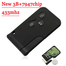 Free shipping new type 3 Buttons 434Mhz pcf7947 Chip Remote Card Key Smart Key For Renault Megane Scenic 2003 2008