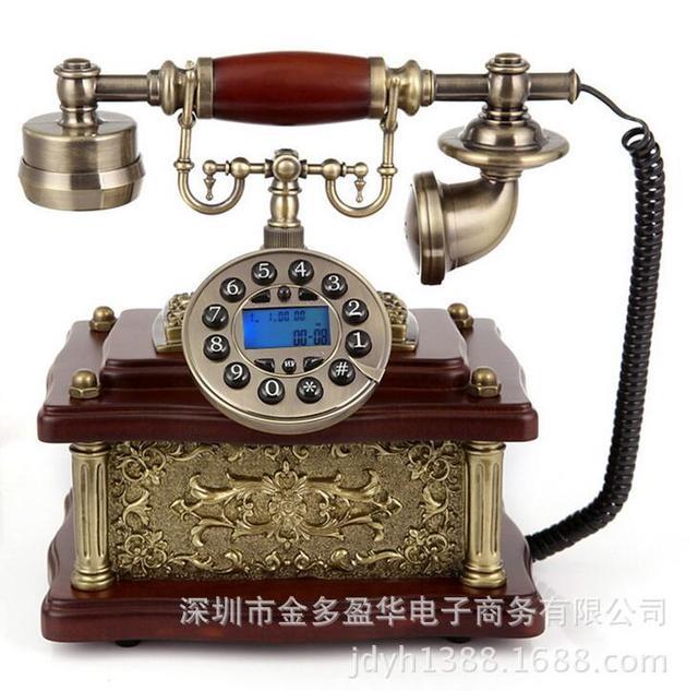 Мода Телефон Антикварные Старинные Деревянные Домашний Телефон Телефон Оснащен Стационарный Телефон