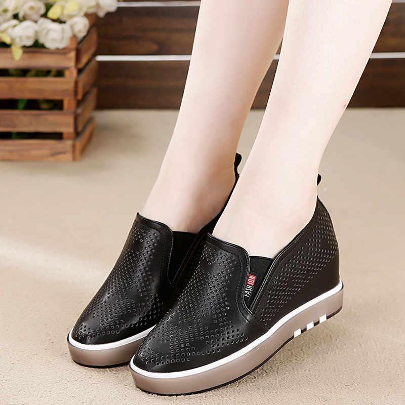 Nefes Hollow gizli kama yüksek topuklu 6CM ayakkabı moda kadın artan iç rahat spor ayakkabılar için kadın platformu