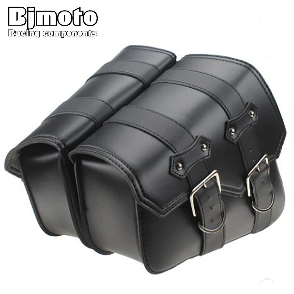 BJMOTO 2x Universal Motorcycle Saddle bags Cruiser Side Storage Tool Pouches For Harley Sportster XL883 XL1200 BAG-006-BK bjmoto for harley motorcycle saddle bags cruiser moto bike side storage tool pouches side saddlebag luggage bag tool side bag