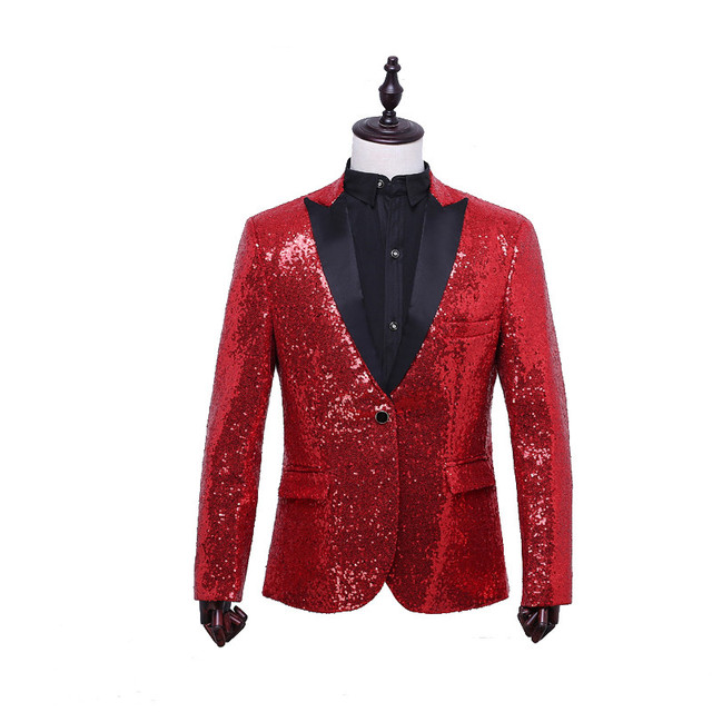 Nuevo 2016 Mens de Calidad Superior Rojo de Lentejuelas de Oro Vestido de Chaqueta chaqueta de Corea Slim Fit Hombres puesta en Escena de Maestro de Ceremonias Blazers