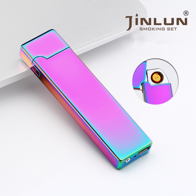 Summer ultra-thin 8 mm Cigarette Lighter USB Charging Arc Windproof Lighters Electronic USB Lighter Men Business Gifts-BSG803