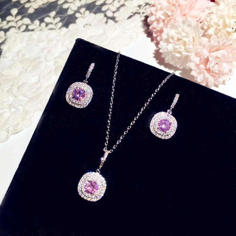 S925 Silver Fine Jewelry Sets For Women Pink Cubic Zirconia Stone Stud Earrings Necklaces Pendants Temperament Accessories