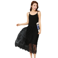 High Quality Modal Lace Female Spaghetti Strap Dress New Style Summer Slim Was Thin Casual Bottoming