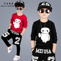 Fashion Cartoon Boy Sets Spring/Autumn 3PCS Sprot Clothing 4-13Years Old Children Cool Streetwear Boys Nice Cotton Hoodies Sets