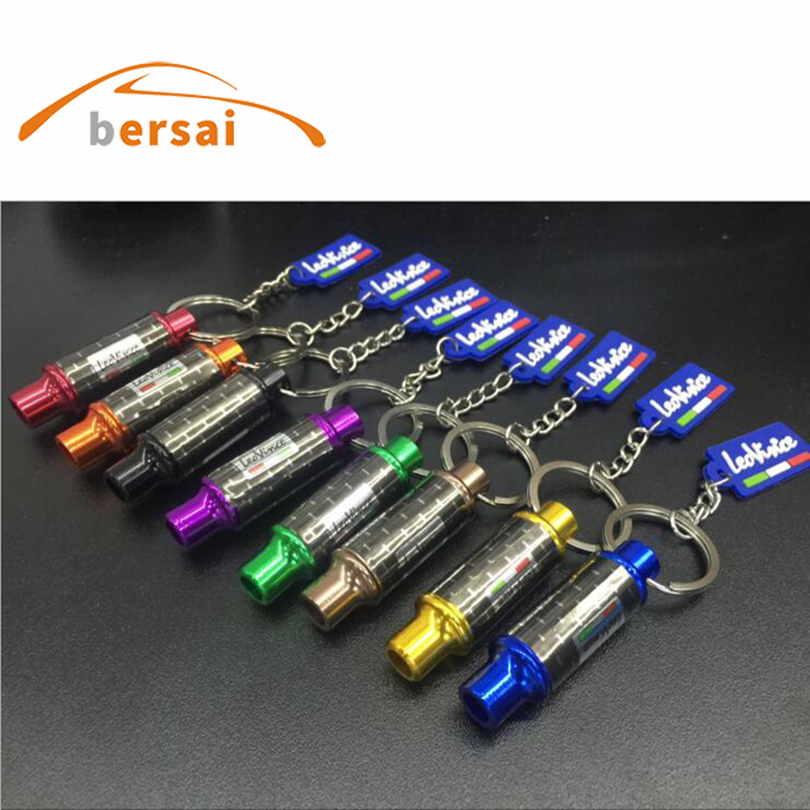 10pcs AUTO art exhaust keychain metal car key ring hellaflush modified personality pendant motorcycle chain Trinkets