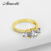 AINUOSHI Trendy Round 3 Stone Gold Ring 10K Solid Gold Wedding Round Cut Sona Diamond Jewelry Anillos Romantic Proposal Ring