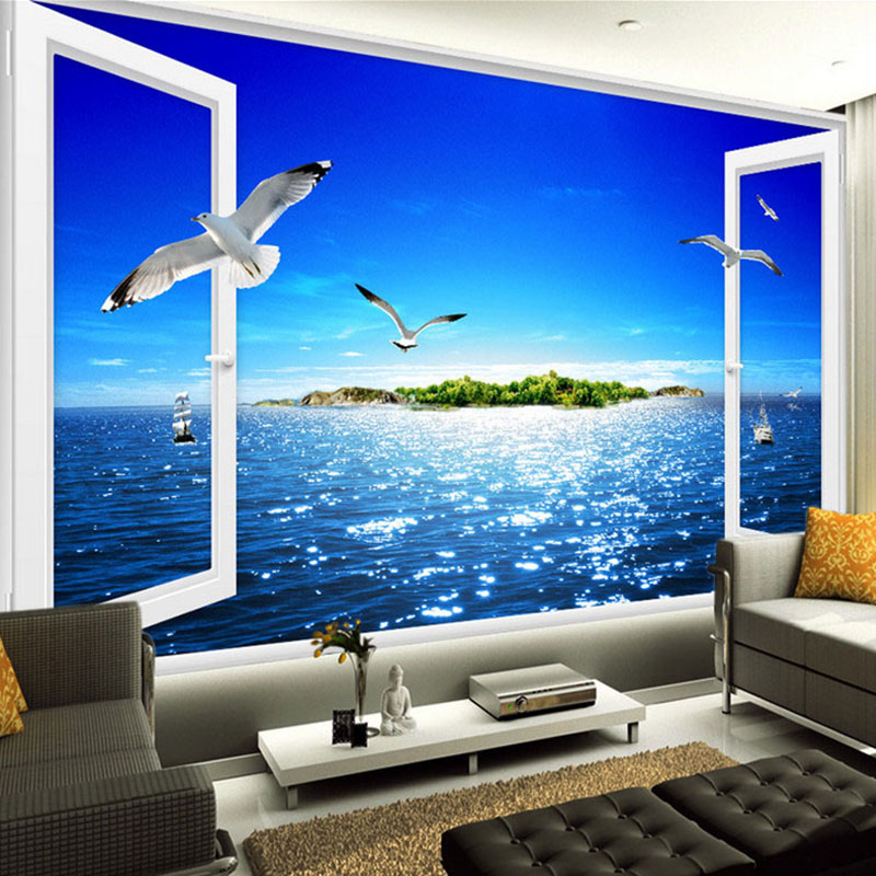 Custom photo mural 3d window sea view wall painting beach for Murales para pared