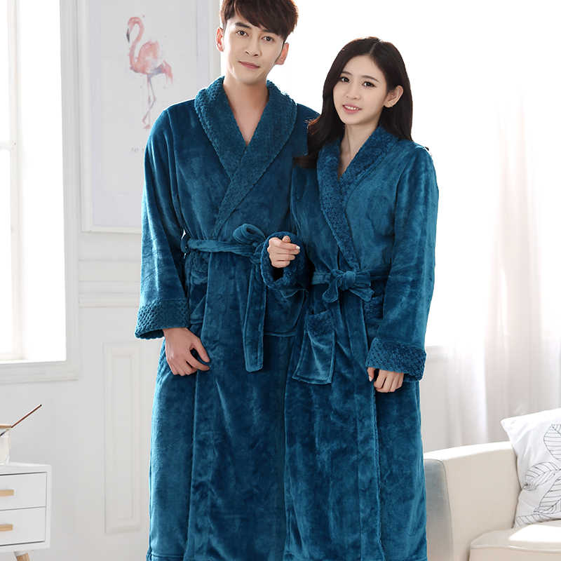 81d45984f8 New Lovers Extra Long Winter Warm Bathrobe Men Lounge Waffle Flannel Kimono Bath  Robe Male Coral