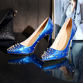 Stars Loves Women Pumps Genuine Leather Studs Harness Pointed Toe Thin Heel Shoes Sexy Shallow Mouth Pumps Ladies Party Shoes