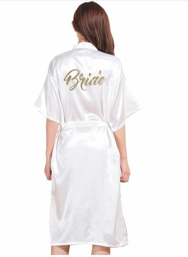 TJ01 Large Size S-3XL Gold Letter Bride Bridesmaid Get Ready Robes Bridal Party Gifts Bathrobe Dressing Gowns For Wome