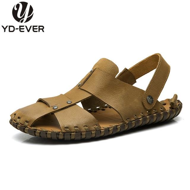 Genial 100% GENUINE LEATHER MEN SANDALS Summer Fashion Brand Beach Slippers Menu0027s  Flip Flops Casual