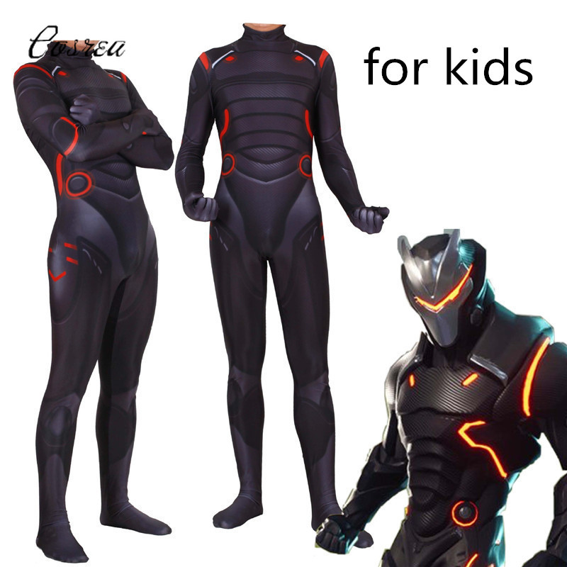 Game Fortnight Onesie Kids Jumpsuit Bodysuits One-piece Zentai Female Men Cosplay Omega Oblivion Link Costumes Suit for Boy