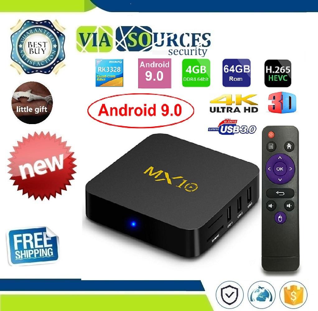 MX10 Smart TV BOX Android 9.0 Rockchip RK3328 DDR4 4 GB di Ram 64 GB Rom IPTV Intelligente Set-top box 4 K USB 3.0 HDR H.265 Media Player BoxMX10 Smart TV BOX Android 9.0 Rockchip RK3328 DDR4 4 GB di Ram 64 GB Rom IPTV Intelligente Set-top box 4 K USB 3.0 HDR H.265 Media Player Box