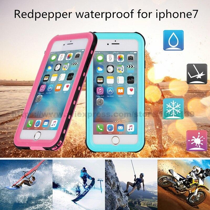 bilder für Wasserdichte case für iphone 7 4.7 inche schnee-harte pc zurück standplatz-abdeckung original redpepper fingerprint plus kleinpaket