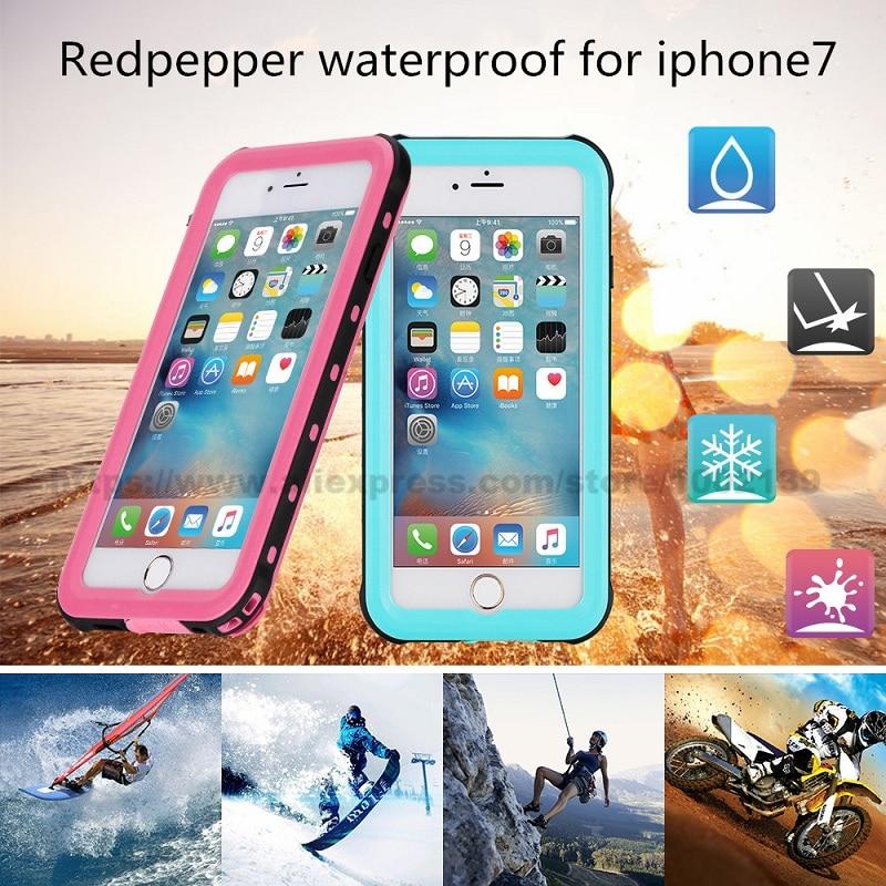 Цена за Waterproof Case for iPhone 7 4.7 инче Snowproof Жесткий ПК Назад Стенд Крышка Оригинал Redpepper Отпечатков Пальцев Плюс Розничный Пакет